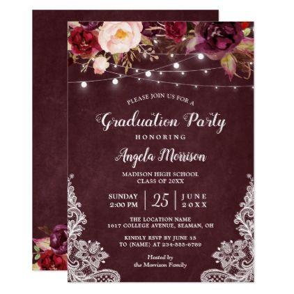 Burgundy floral string light lace graduation party card graduation burgundy floral string light lace graduation party card graduation party invitations cards custom invitation card stopboris Choice Image