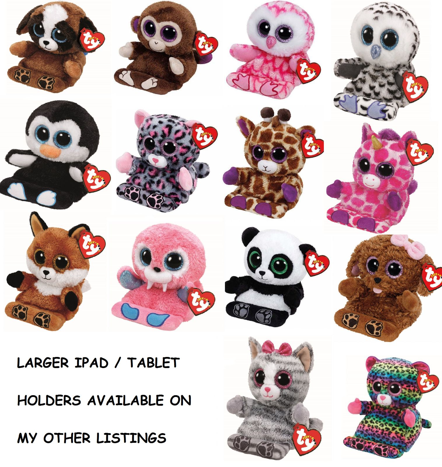 e5b2ce2d056 Current 1634  Ty - Peek-A-Boo Soft Plush Toy Mobile Phone - Tablet Holder -  2 Sizes Available -  BUY IT NOW ONLY   7.99 on eBay!