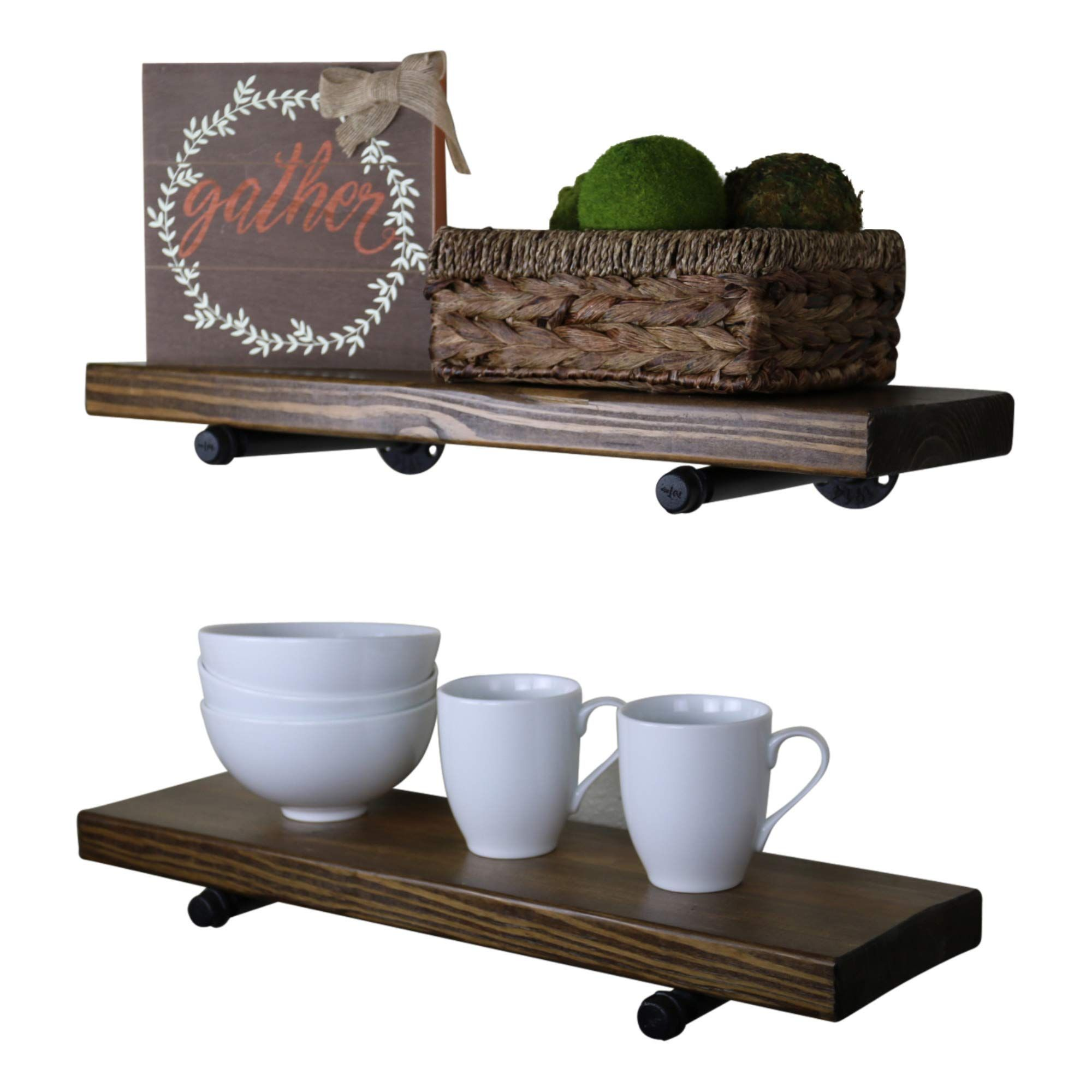 Sdi Designs Rustic Farmhouse Industrial Shelves Deep Floating Wall Shelf With Industrial Pipes In 2020 Rustic Design Rustic Wood Floating Shelves Modern Rustic Design