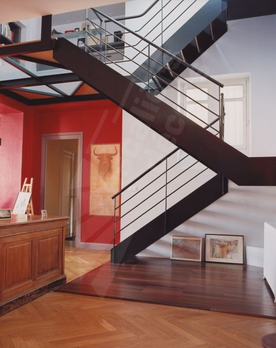 Photo dt48 esca 39 droit 2 quartiers tournant avec double for Deco palier escalier