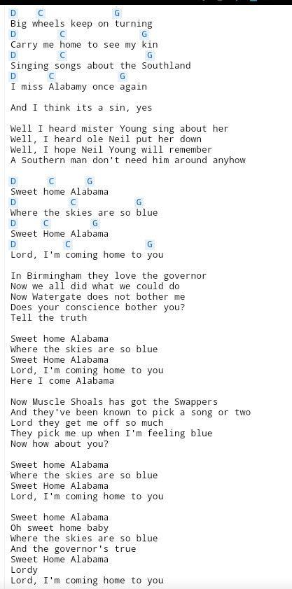 Chords ratings, diagrams and lyrics. Sweet Home Alabama 3 Sweet Home Alabama Chords Sweet Home Alabama Guitar Lyrics And Chords