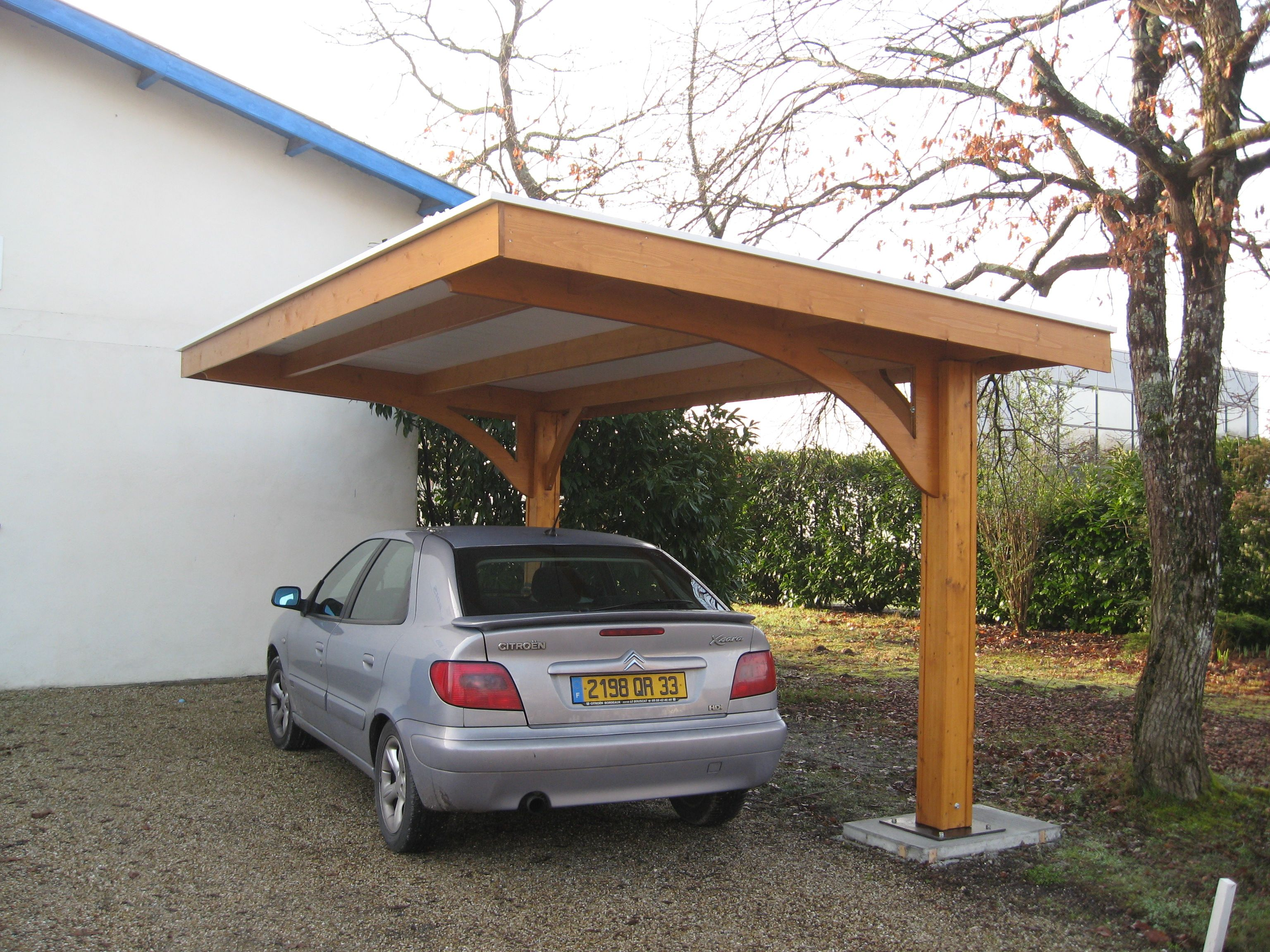 Car Canopy Wood : Car port with garbage can alcove to right remodel