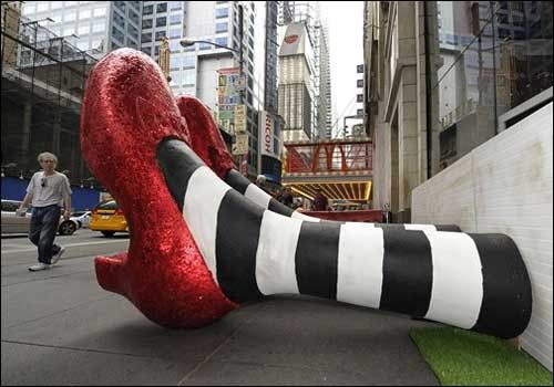 Pair Of 6 Foot Tall Ruby Red Slippers Are Unveiled Outside