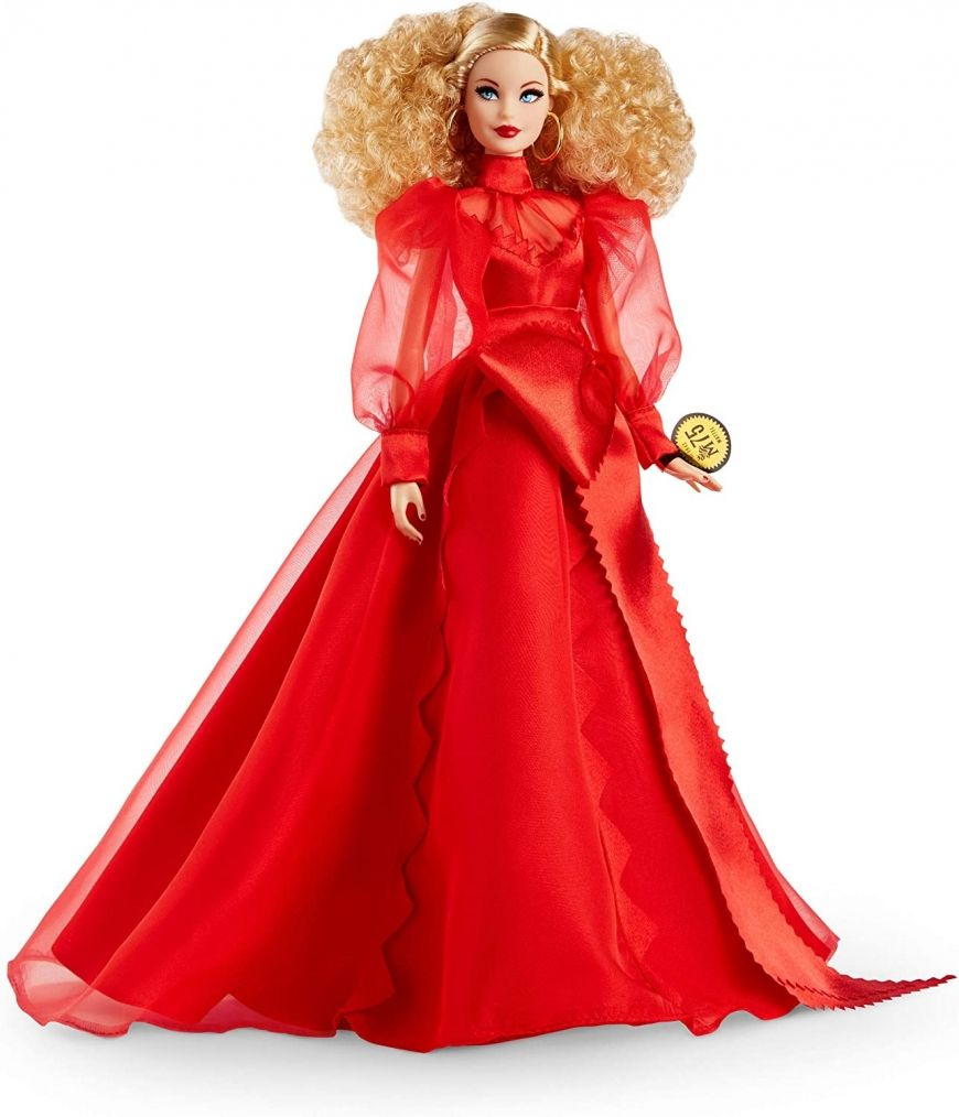 Barbie Collector Mattel 75th Anniversary Doll 2020 In 2020 Christmas Barbie Red Chiffon Chiffon Gown