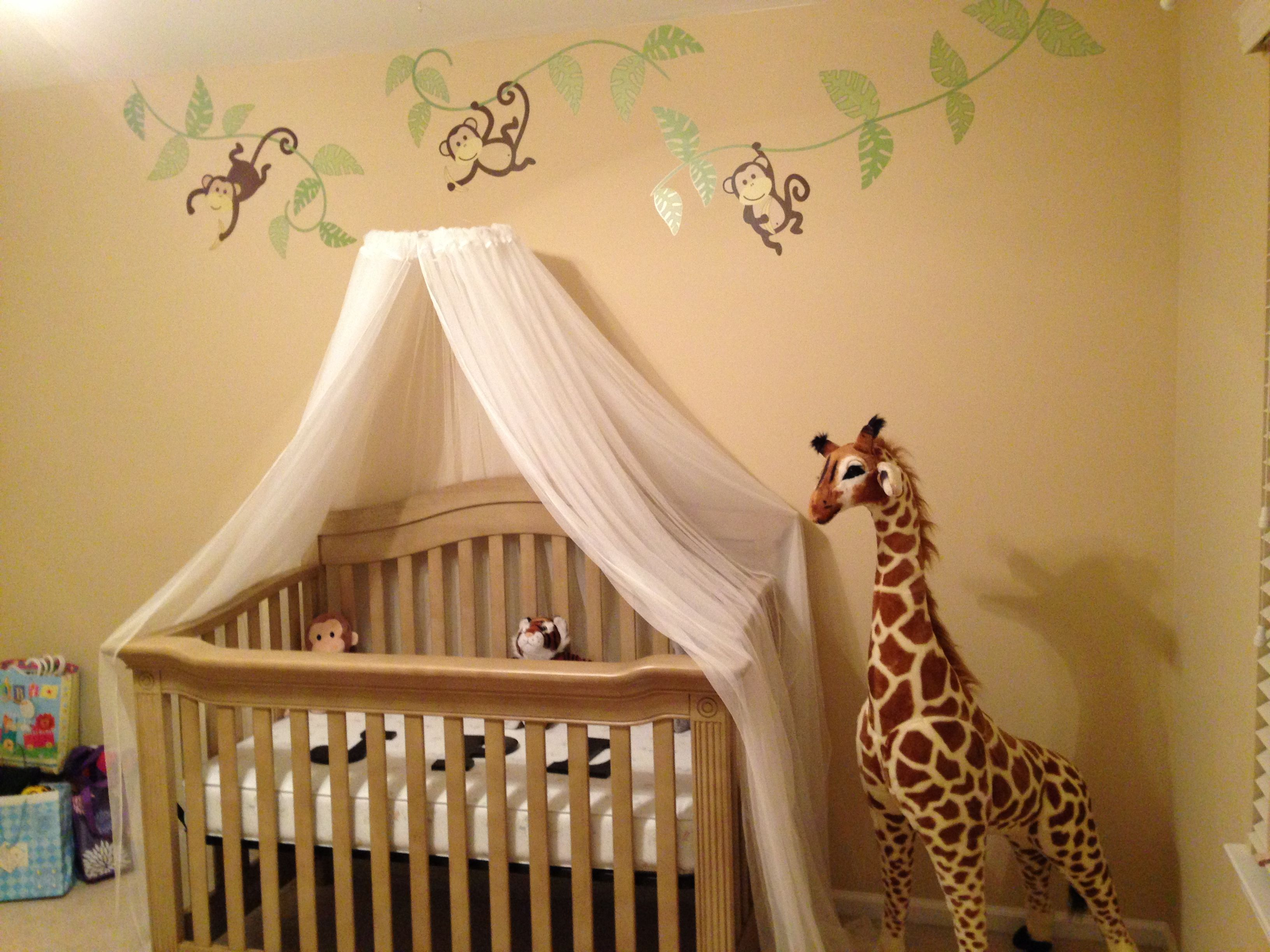 Nursery- safari theme Homemade mosquito net canopy :-) | Baby ...
