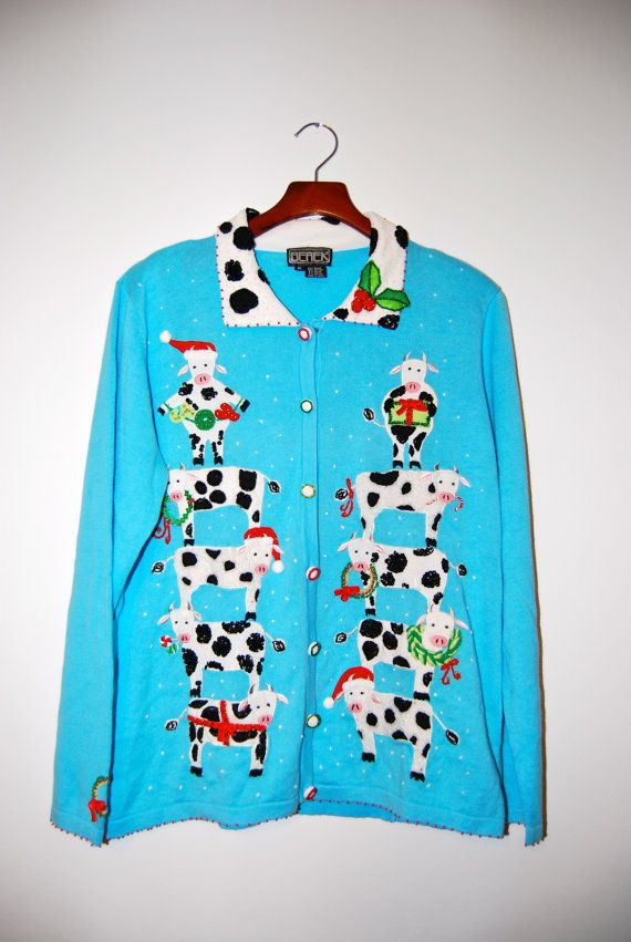 Ugly Tacky Christmas Cow Sweater Xl Christmas And Winter