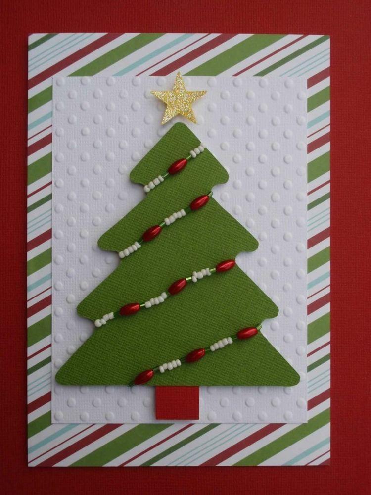 Weihnachtskarten basteln tannenbaum perlen ketten idee rot gruen weiss xm pinterest - Weihnachtskarten selbst basteln anleitung ...
