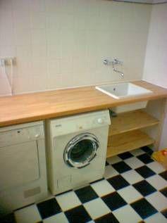 Wasbak uit de badkamer naar zolder en steigerhouten plank als ...