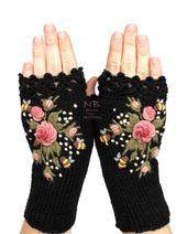 Schwarze Handschuhe mit rosa Rosen und Bienen, gestrickte Fingerlose Handschuhe,…