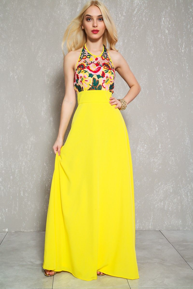 008e960fe2 Sexy Yellow Red Embroidered Empire Waist Halter Maxi Dress  13.50