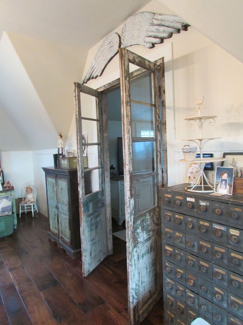 Clean White Walls Contrast With Door And Storage Featuring Patina In Similar Color Scheme Of Grey Design Beautiful Space Interior