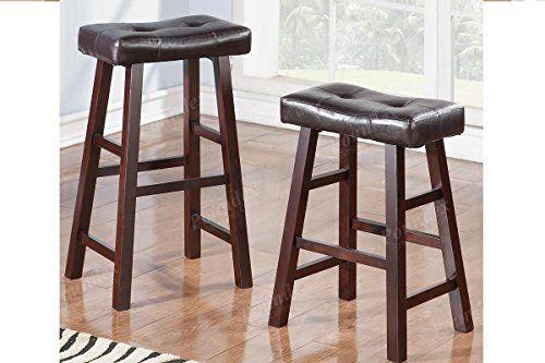 Espresso Wood Saddle Back Stools With Bonded Faux Leather Seat