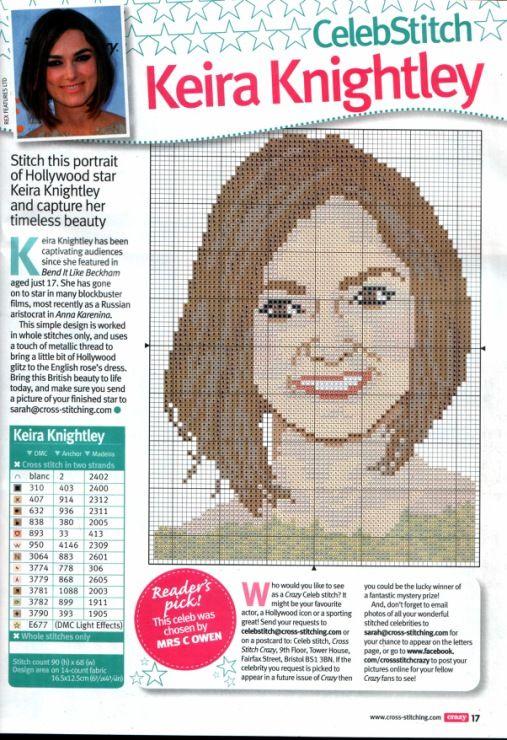 sandylandya@outlook.es Keira Knightly Cross Stitch Chart