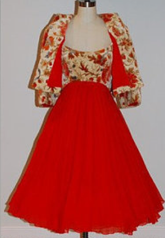 1960s Arnold Scaasi Dress: Red Chiffon Floral Tapestry Cocktail  Dress & Bolero Jacket, Bombshell