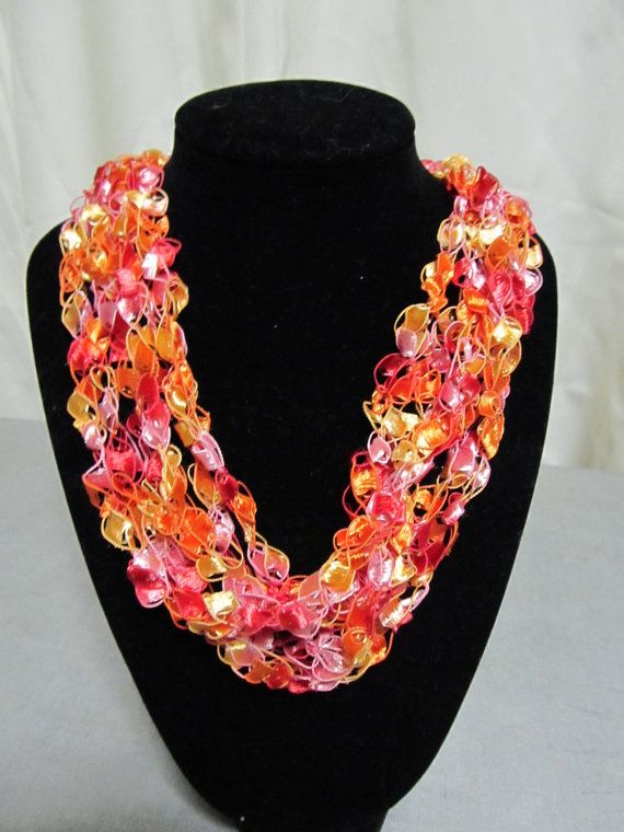 Crochet Necklace made from ribbon ladder yarn | Projects Even I ...