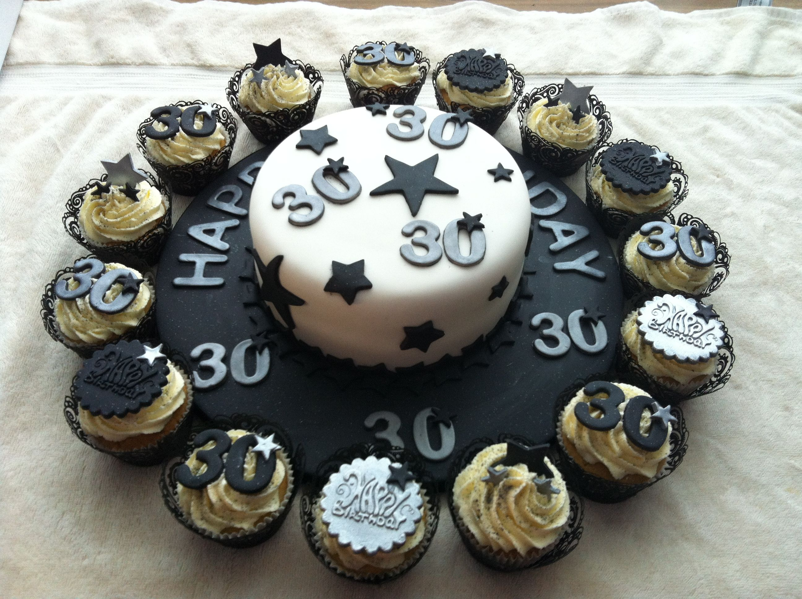 Male 30th Black And Silver Theme With Images Cake Table