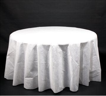 Genial Linen Like 120. White TableclothRound ...