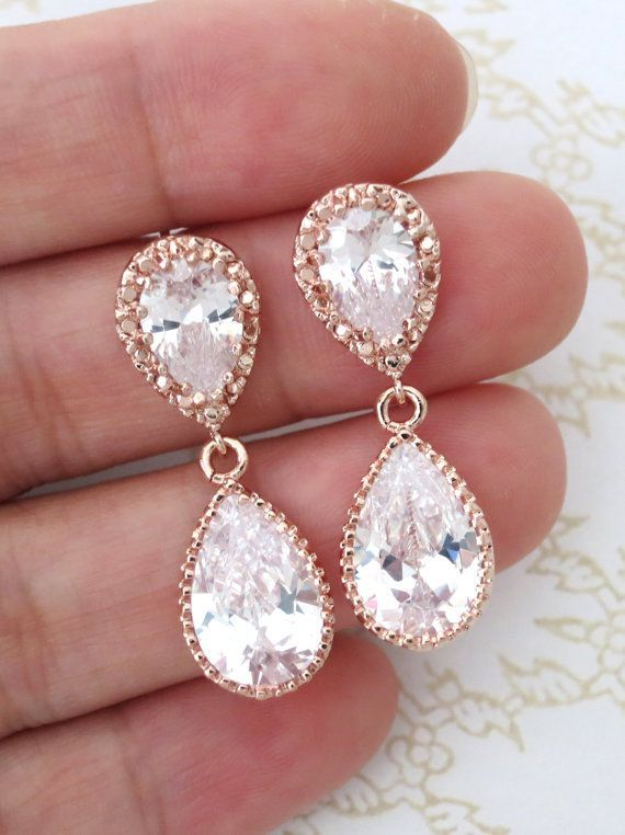 Rose Gold Cubic Zirconia Teardrop Earring Gifts For Her Earrings Bridal Drop Dangle Pink Weddings Bridesmaid Colormemissy