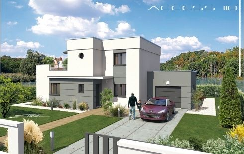 VUES EXTERIEURES - villa contemporaine, villa design contemp, toit - Plan Maison Moderne  Chambres