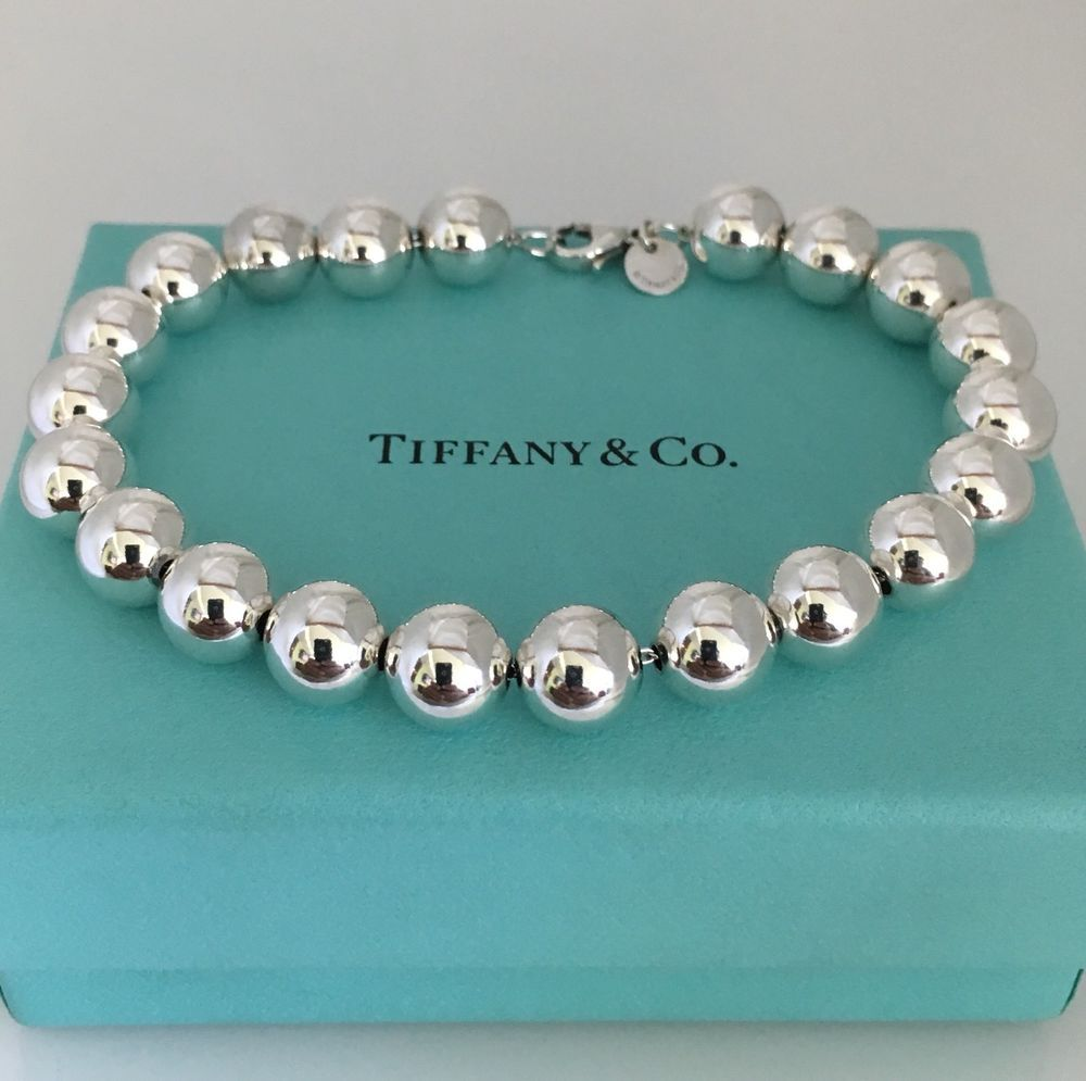 5d0d7ac2a Tiffany & Co Sterling Silver Bead Ball 10mm Bead Bracelet Rare Large 9.25