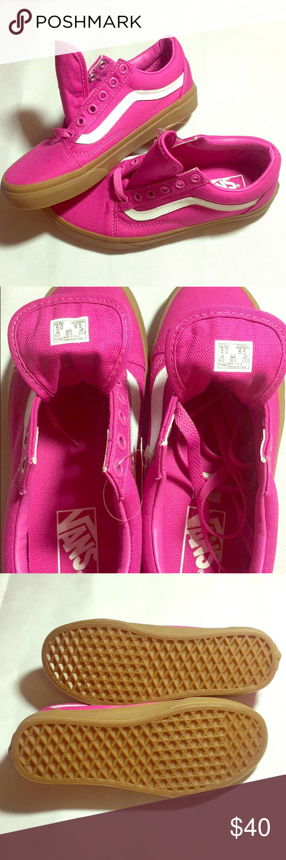 0a364d9896b4 Old Skool Vans Old Skool Vans (light gum) raspberry rose. Very cute never  worn brand new Vans Shoes Sneakers
