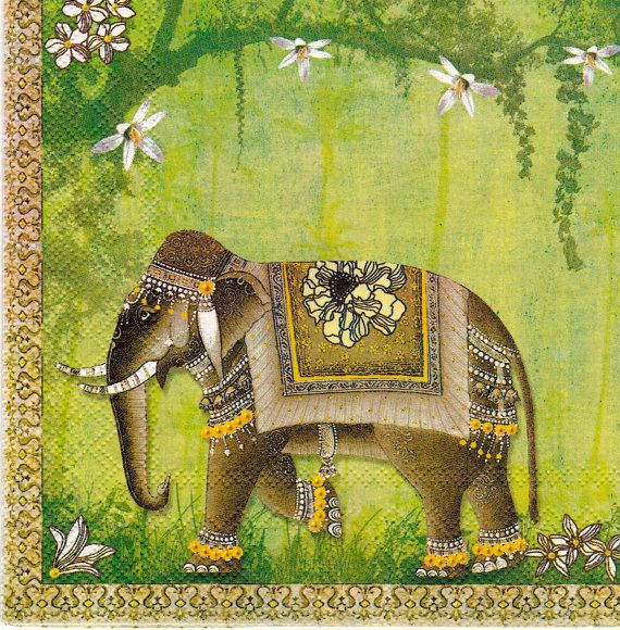Set Of 2 Two Paper Napkins Mumbai Elephant Green For