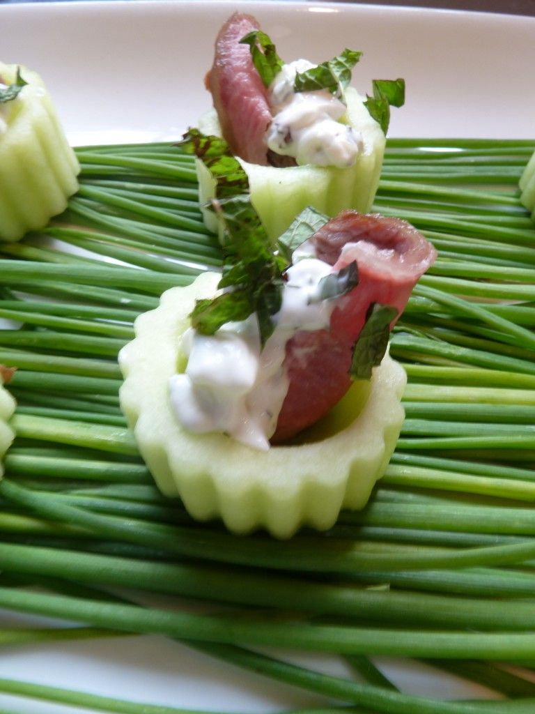 Shaved Lamb With Tzatziki In Cucumber Cups Capers Catering Cucumber Cups Lamb Recipes Food