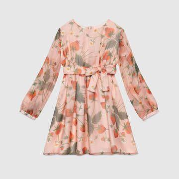 ed5a12489 Gucci children's pink strawberry print silk dress. | Printed Dresses ...
