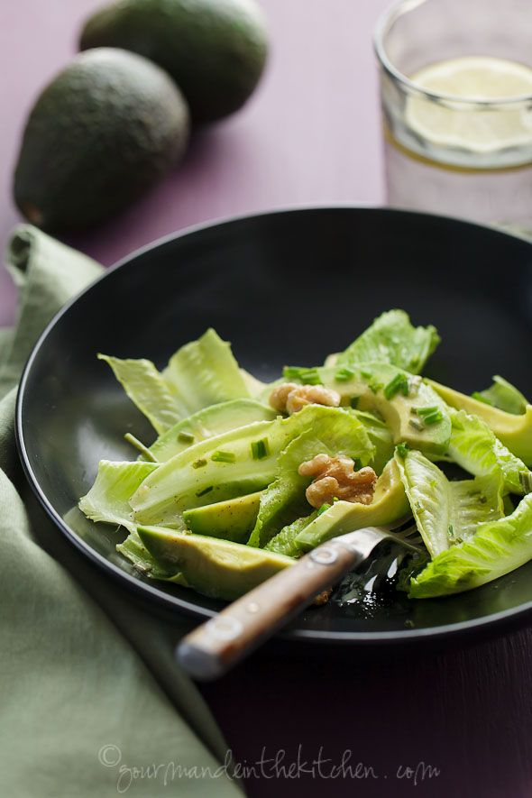 Avocado and Romaine Salad with Walnuts  and a kickass dressing
