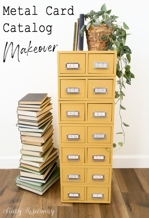 Metal Card Catalog Makeover Stacy Risenmay Card Catalog Furniture Makeover File Cabinet Makeover