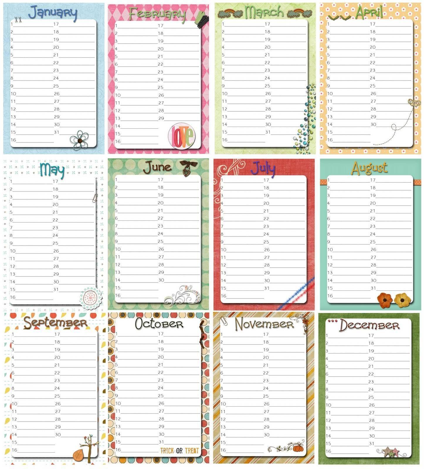 Birthday Calendar Templates Free Perpetual Birthday Calendar Family Birthday Calendar Calendar Printables