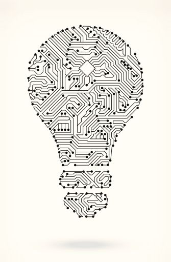 light bulb on circuit board circuit board on royalty free vector
