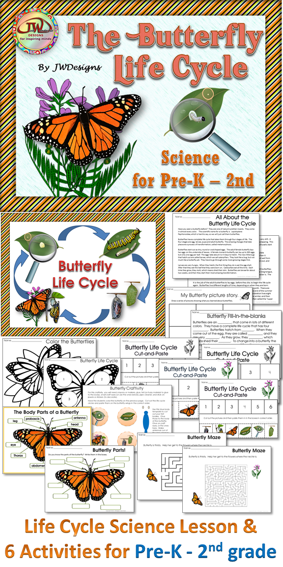 This unit is a fun science pack, all about butterflies. These activities have two levels - Pre-K/K and 1st/2nd grade. Activities in this pack, including answer keys: Life Cycle Posters (4 versions), a teacher read about butterflies. My butterfly picture story, fill-in-the-blank - comprehension, life cycle cut and paste (2 versions), butterfly body parts poster, labeling parts of a butterfly, butterfly coloring page, butterfly craftivity, 2 Butterfly mazes. Pre-K, K, 1st, 2nd and…