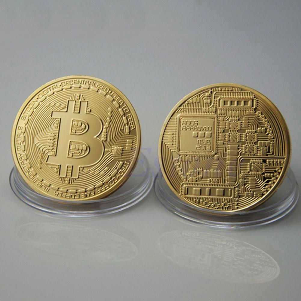 1xGold Bitcoin Commemorative Round Collectors Coin Bit  Coin Silver Plated Coins