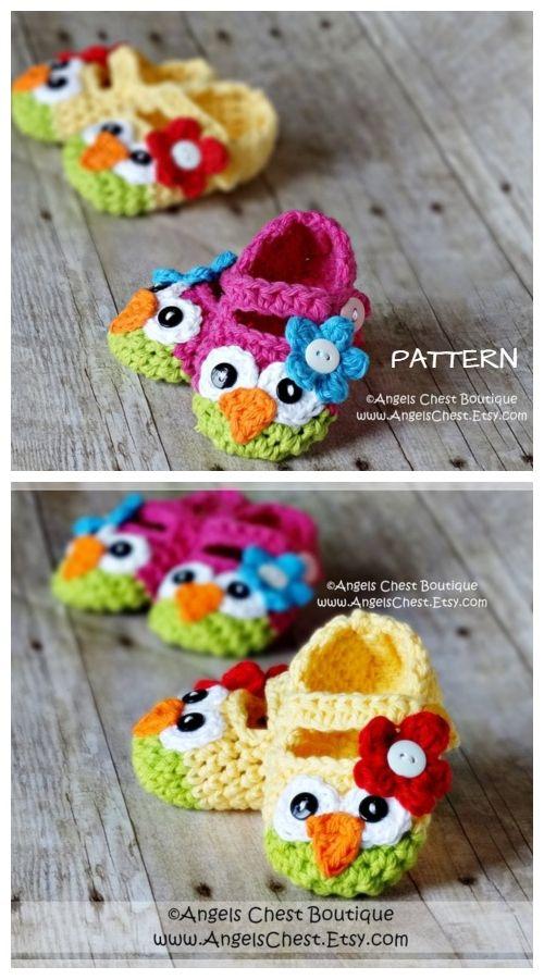DIY Crochet Mary Jane Owl Slippers Free Pattern