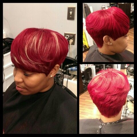 Short Cuts Red Hair Cleveland Stylist Full Quickweave Bond Weave