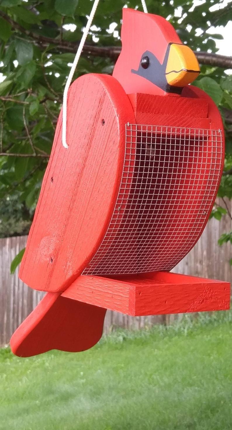 Cardinal bird feeder Unique Bird Feeder Amish Handmade Bird