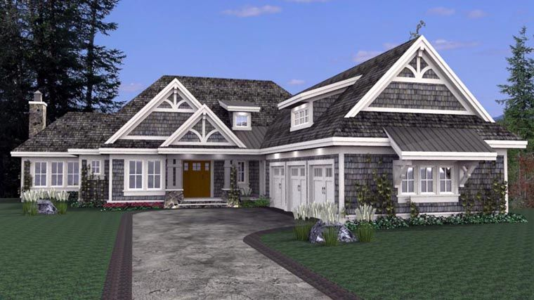 House Plan 42668 With 3 Bed 4 Bath 3 Car Garage Courtyard House Plans Basement House Plans Garage House Plans