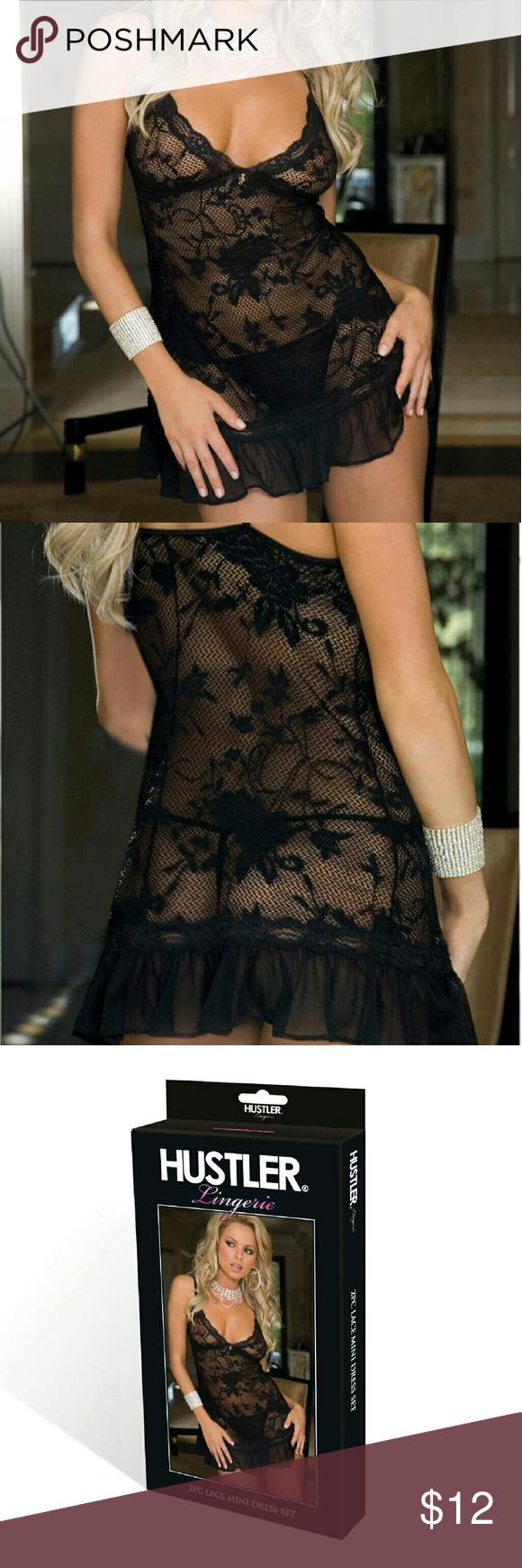 b172f36b2a Hustler Lingeries 2PC Black Lace Mini Dress Set. Classic design hustler  style - this slinky