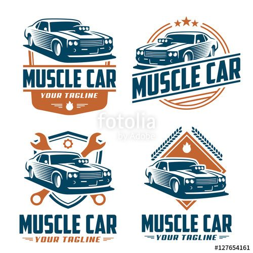 Vector Vector Pack Of Muscle Car Logo Design Muscle Car Vector Set Car Logo Design Car Logos Car Vector