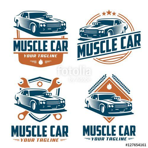 Vector Muscle Car Logo Retro Logo Style Vintage Logo Car