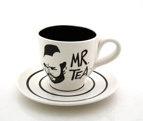 mr t tea teacup and saucer black and white by lennymud