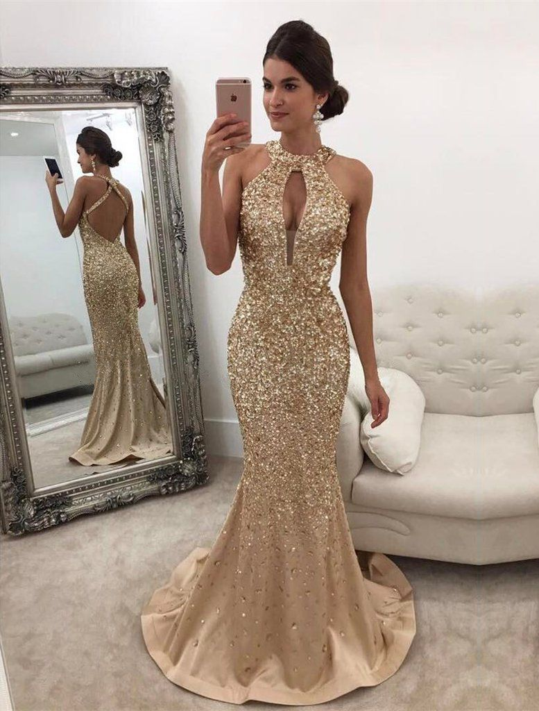 Long champagne satin halter prom dress mermaid crystal beaded