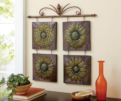 Metal Wall Flowers antique sunflower 3d metal wall decor | spotlight on wall art