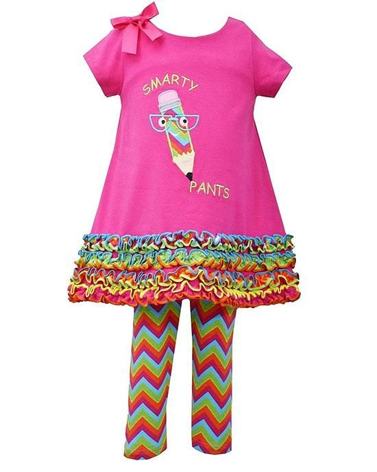 Perfect for Back-to-School! Bonnie Jean Fuchsia Pencil SMARTY PANTS Leggings set Girls (sz 12m-6x) ~Color Me Happy Boutique #Fall
