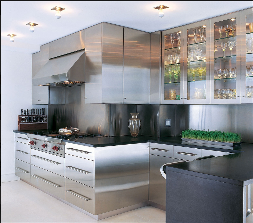 Stainless Steel Kitchen Cabinets With Glass Doors Kitchen