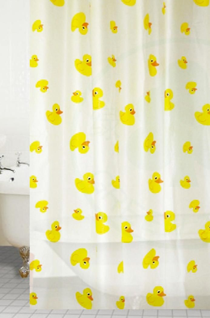 Yellow Ducks Peva Shower Curtain 180 X 180cm Shower Curtains