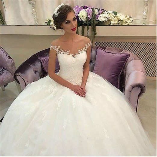 Lovelybride Stylish Cap Sleeve Shear Appliques Tulle Ball Gown Wedding Dress At Amazon Womens Clothing Store