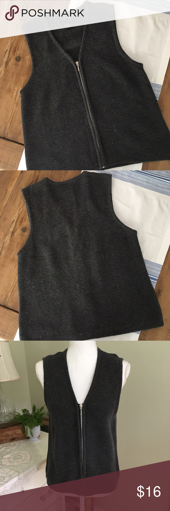 Sale! Requirements Charcoal Gray Sweater Vest This sleeveless ...