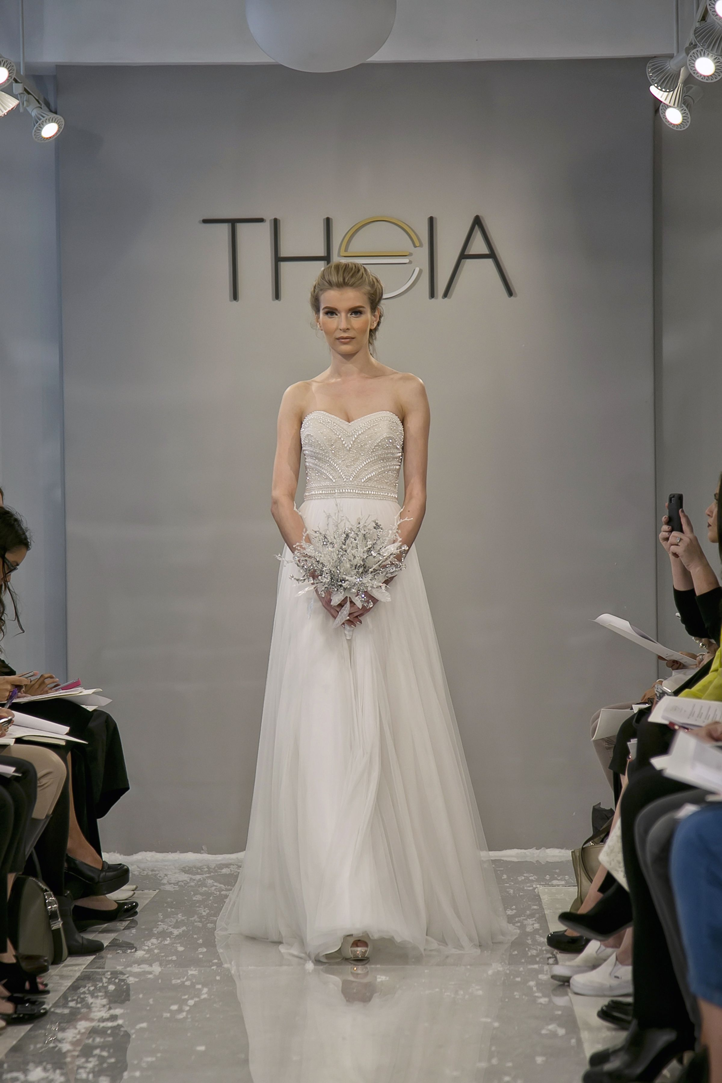 Kerry Ivory Spanish Tulle Strapless Gown With Hand Embroidered Sequin And Pearl Bodice